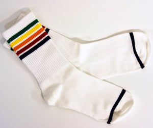 70s Rainbow Stripe White Tube Socks