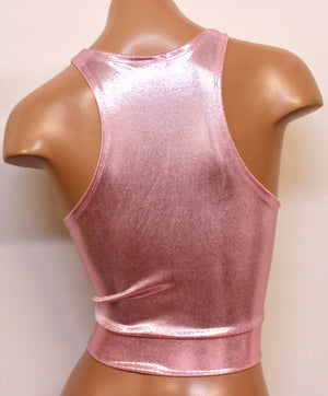 Hologram Racerback Crop Top in Baby Pink