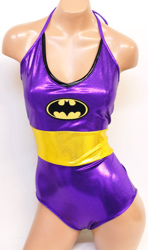 Purple Bat Costume Set: Onepiece w Bat cape