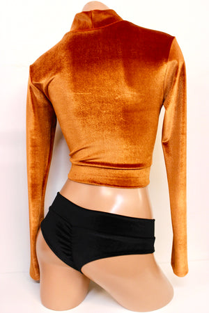 Plush Velvet Crop Mock Turtleneck in Caramel