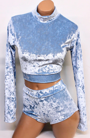 Crushed Velvet Crop Mock Turtleneck with Long Sleeves in Pastels