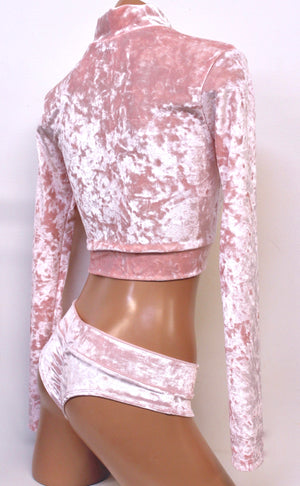 Crushed Velvet Crop Mock Turtleneck with Long Sleeves in Baby Pink