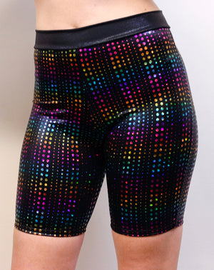 Hologram Biker Shorts in Rainbow