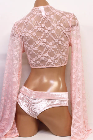 Bell Sleeve Tie Top in Baby Pink Lace