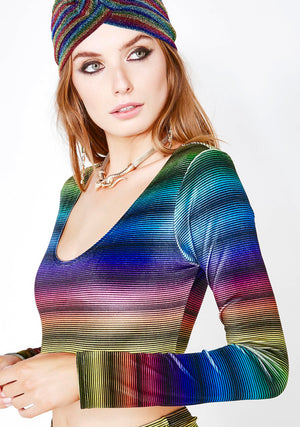 Velvet Rainbow Stripe Long Sleeve Crop Top