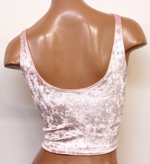 Crushed Velvet Crop Tank in Baby Pink