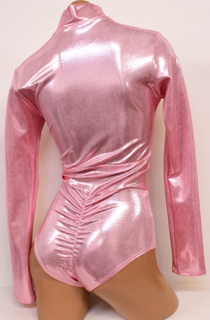 Hologram Space Babe Long Sleeve Onepiece Suit with Zipper in Baby Pink