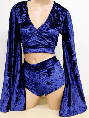 Crushed Velvet Crossover Crop Top with Flare Sleeves in Jewel Tones