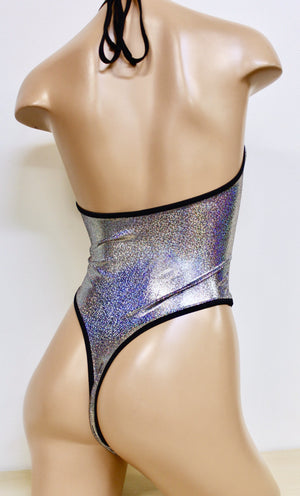 Sugarpuss High Cut Halter Hologram Bodysuit