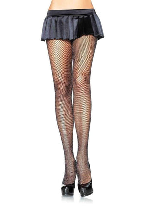 Glitter Shimmer Fishnet Tights in Black with Silver