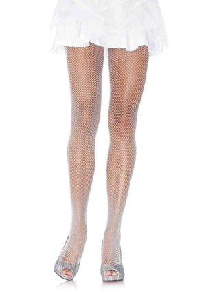 Glitter Shimmer Fishnet Tights in White with Silver