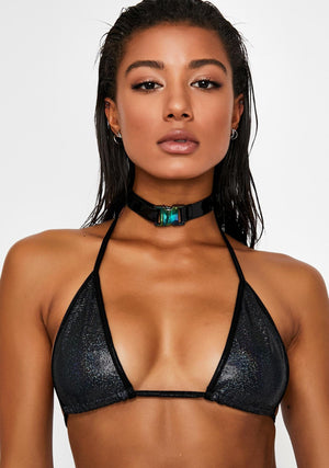 Hologram Triangle Bikini Top in Gunmetal