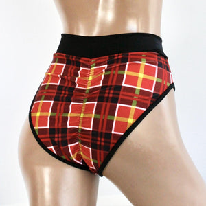 Plaid Highcut Cheeky Shorts in Red