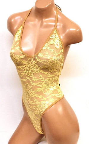 Lace High Cut Halter Bodysuit in Gold