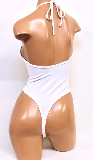 Lycra High Cut Halter Bodysuit in White