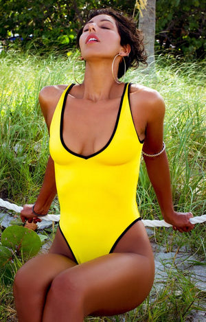 High Cut V-Neck Bodysuit in Yellow with Black Trim