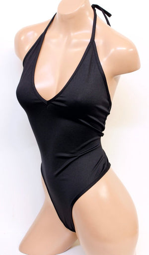 Lycra High Cut Halter Bodysuit in Black