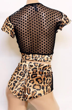 Plush Velvet Crossover Top with Flutter Sleeves in Leopard with Mesh Back