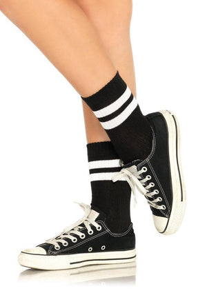 Athletic Anklet Striped Tube Socks in Black and White