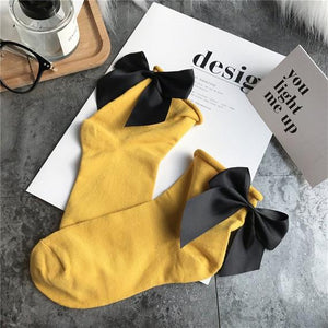 Yellow Bow Anklet Socks