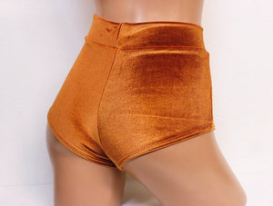 Plush Velvet Highwaist Cheeky Shorts in Caramel