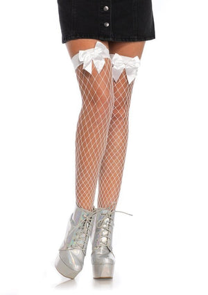 Fence Net Thigh High Stockings w Bow in White