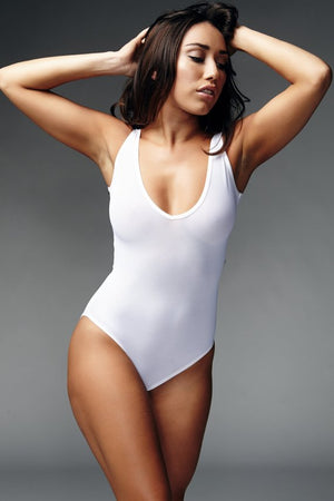 Lycra V-Neck Bodysuit in White
