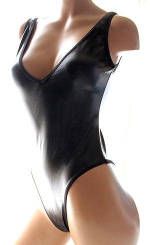Wet Look V-Neck Bodysuit