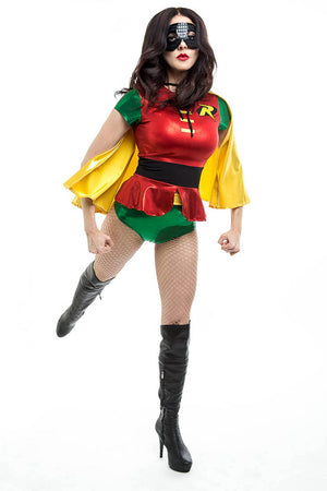 Sidekick Costume Set with Peplum Top, Highwaist Bottoms and Cape