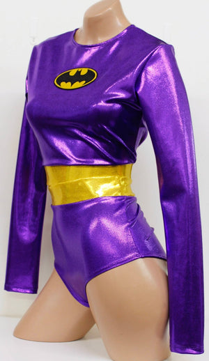 Bat 2 Piece Costume Set: Long Sleeve Crop Top with Highwaist Pin Up Bottoms