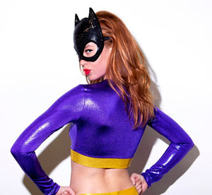 Purple Bat Hero Costume Set with Long Sleeve Top and Highwaist Bottoms