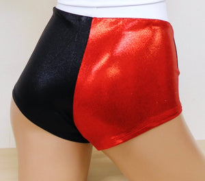 Harlequin Black and Red Cheeky Shorts