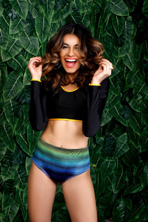 Velvet Rainbow Stripe Cheeky Shorts