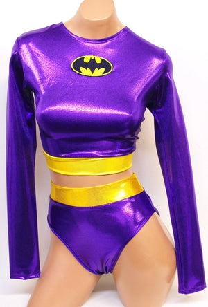 Bat 2 Piece Costume Set: Long Sleeve Crop Top with Highwaist Highcut Bottoms
