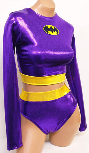 Purple Bat Hero Costume Set: Long Sleeve Crop Top with Highwaist Highcut Bottoms