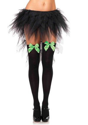 Opaque Thigh High Stockings in Black with Neon Green Bows