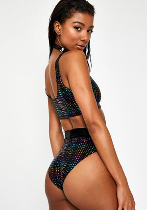 Hologram Highwaist Highcut Briefs with Scrunchback in Rainbow Hologram