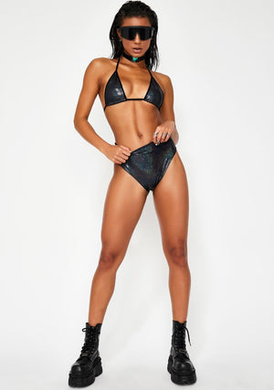 Hologram Highwaist Highcut Briefs with Scrunchback in Black Hologram