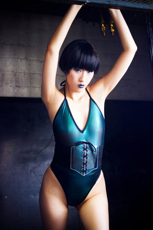 Metallic Mesh Highcut Halter Bodysuit in Teal
