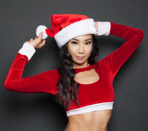 Santa's Helper Red Velvet Keyhole Crop Top