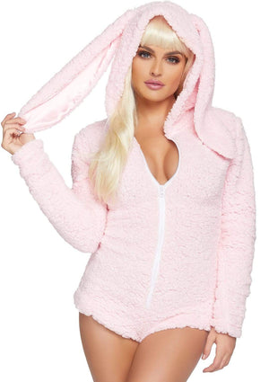 Fluffy Cuddle Bunny Long Sleeve One-piece Suit in Baby Pink