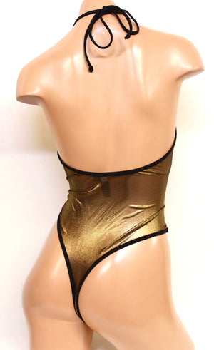 Metallic Mesh High Cut Halter Bodysuit in Gold