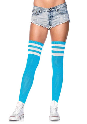 Athletic Thigh High Striped Tube Socks in Neon Blue and White