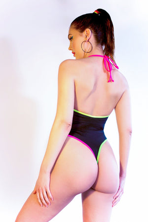 Neon Trim Highcut Halter Bodysuit in Black