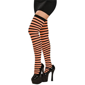 Opaque Thigh High Stockings in Black and Orange Stripe