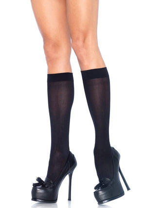 Opaque Knee High Stockings in Black