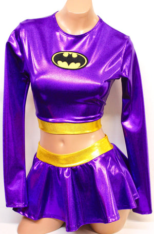 Purple Bat Hero Costume Set: Long Sleeve Crop Top with Mini Skirt