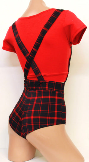 Retro Pin-Up Overalls in Black and Red Plaid