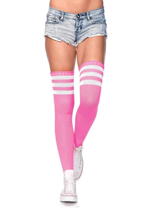 Athletic Thigh High Striped Tube Socks in Neon Pink and White