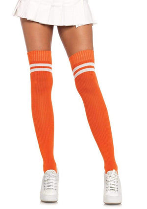 Ribbed Athletic Thigh High Socks in Orange